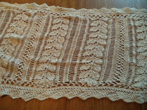 VINTAGE ANTIQUE off white TABLE RUNNER  52 - 56 INCHES LONG 15 -17 INCHES WIDE