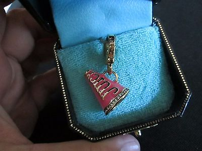 NEW Authentic JUICY COUTURE PINK ENAMEL AND SILVER CHEER MEGAPHONE  CHARM In Box - Pink Megaphone