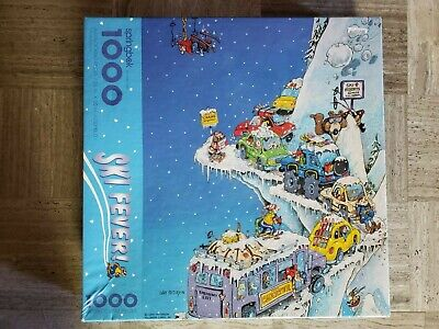 Vintage Springbok Puzzle Ski Fever Hallmark Gary Patterson 1000 Jigsaw Snow Cars
