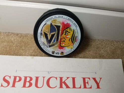 NHL VEGAS GOLDEN KNIGHTS VS CHICAGO BLACKHAWKS HOCKEY PUCK, 2/13/18, NEW