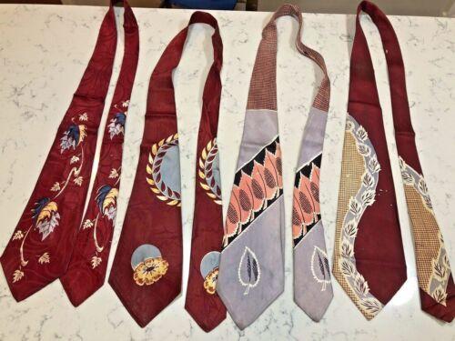"""Vintage Necktie Lot 4 1940s print ties 4"""" width as is"""