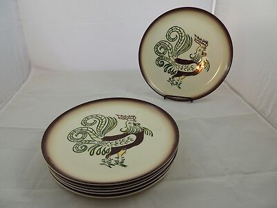 "Chanticleer by Brock of California Rooster Dinner Plate Set of 6 11"""
