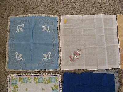 19 Vintage Ladies Hankies In Mint Condition Tiger Embroidered Floral Painted
