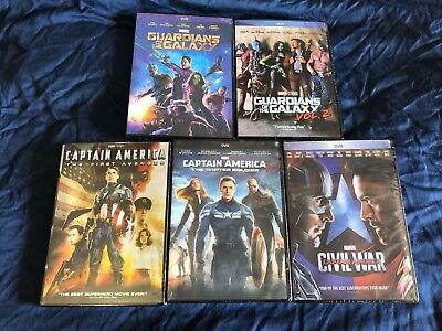 Captain America + Guardians of the Galaxy Vol 1 and 2 DVD New Avengers Civil War