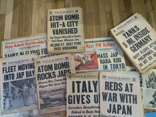 Lot of World War II Newspapers/Magazine: Daily News, NY Times, Daily Mirror, PM