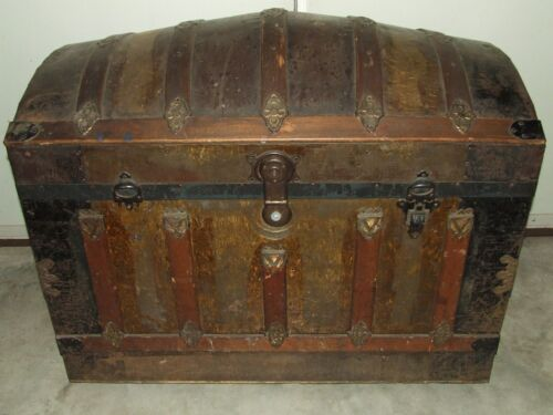 Antique 19th C. Large Victorian Dome Top Steamer Trunk w/Tray - Tin,Brass & Wood
