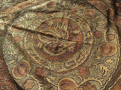 LARGE & ORNATE Antique OTTOMAN Turkish METALLIC EMBROIDERY Panel w/ TUGHRA SEAL