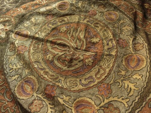 LARGE & ORNATE Antique OTTOMAN Turkish METALLIC EMBROIDERY Panel w/ TUGHRA SEAL