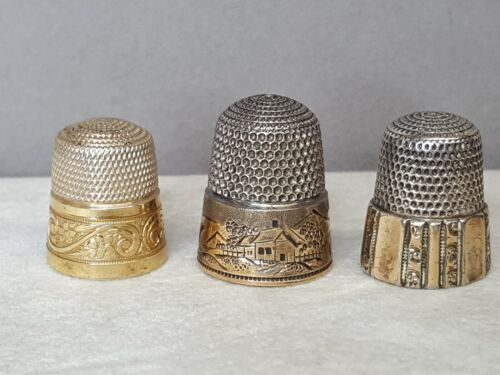 Lot of 3 Antique Simons Bros. Silver w/Gold Sewing Thimbles #9,#11,#9