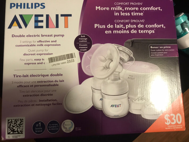 BRAND NEW- Philips Avent Double Electric Breast Pump W/Bag!