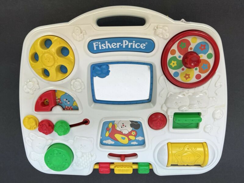 Vintage 1993 Fisher Price #1175 Busy Box Crib Activity Center Baby Learning Toy