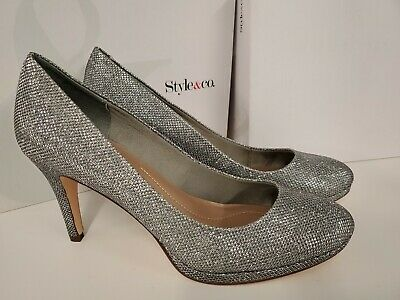 Style & Co. Macy's Womens NIKOLET Closed Toe Classic Pumps Shoes Silver 10.0 Macy Womens Shoes