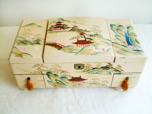 Vintage JAPANESE Cream Lacquer JEWELRY MUSIC BOX Hand Painted Many Compartments