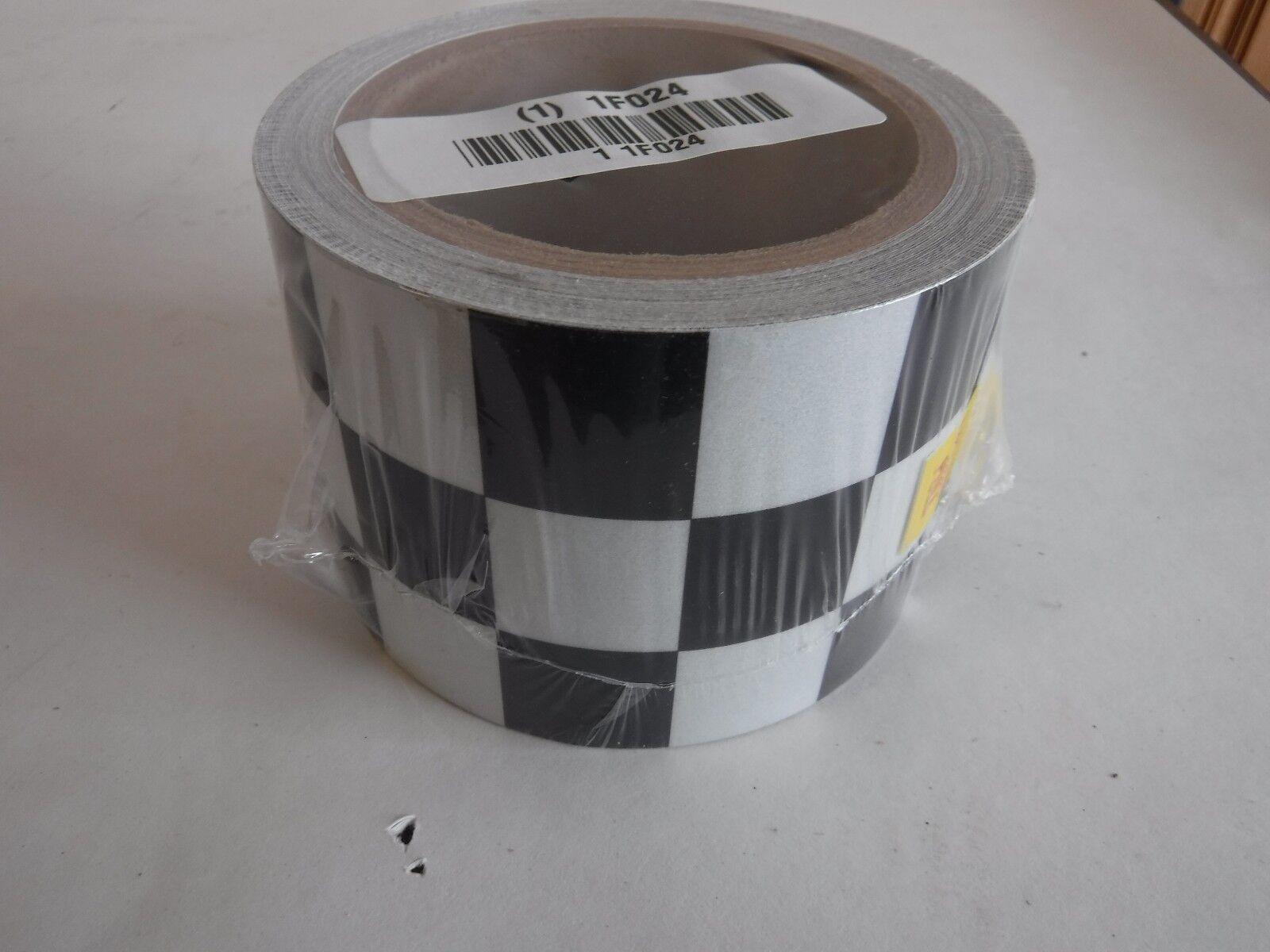 "Black/White Reflective Marking Tape, Brady, 3"" x 30 ft., 1 E"