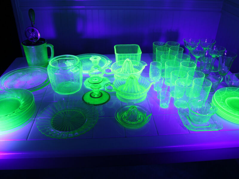 uranium glass, 50pc collection, some very rare! No Shipping.