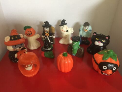 Vintage Halloween Candle Collection (11) Cute Witches Cats Monsters Ghosts !
