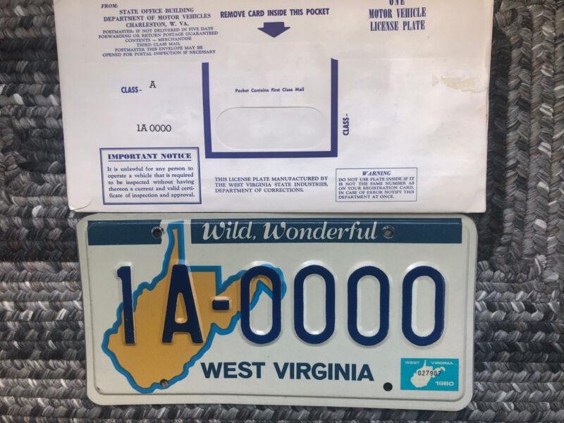 1980 West Virginia Sample License Plate
