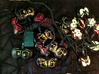 Fun Lot 2 Vintage Halloween Blow Mold String Light Covers Spooky Crazy Eyes