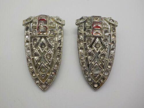 Vintage 1930 Pair Art Deco Silver Tone Rhinestone Dress Fur Clips Pat 1801128