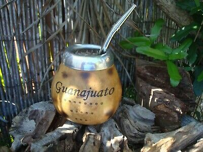 Personalized ARGENTINA MATE GOURD YERBA TEA CUP WITH STRAW BOMBILLA