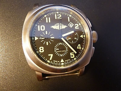 NEW Watch Russia 31682 Chronograph Poljot Mechanical VODOLAZ Aviator St STEEL