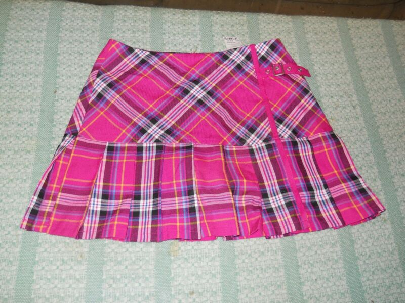 Brand New With Tag NWT Limited Too Plaid Skirt Skort Girls Size 16 Pink & Black