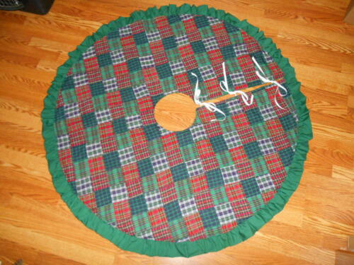 "Christmas Homespun Plaid Patchwork Squares Tree Skirt 53"" diameter Handmade"