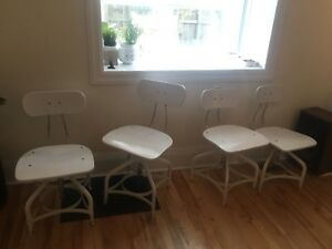Restoration Hardware White Vintage Toledo Chairs + Stools
