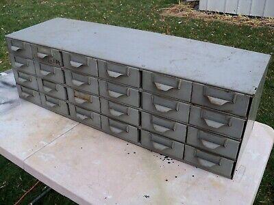 Vintage Metal 24 Drawer Storage Cabinet Small Parts Hardware Bin Organizer Rare