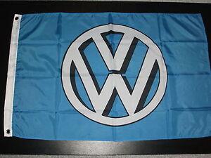 VW SHADOW LOGO BLUE AND WHITE 5' X 3' FLAG VANFEST PLYMFEST JAMBOREE.