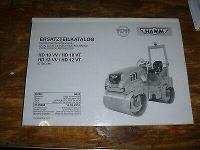 Hamm Hd10vv Hd10vt Vibratory Smooth Drum Roller Compactor Part Catalog Manual