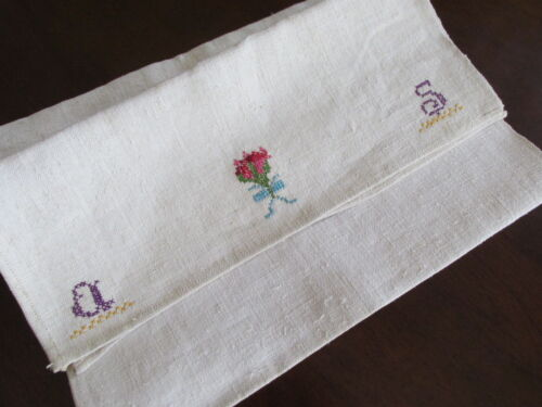 Antique Homespun Linen Towel with Monogram Embroidery Nubby Rustic