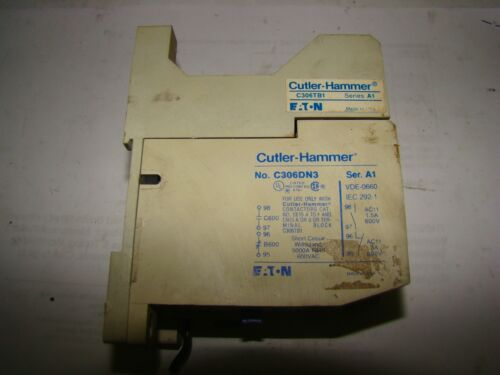 Cutler Hammer C306TB1 Series A1/ C306DN3 Overload Relay Mounting Base, Used