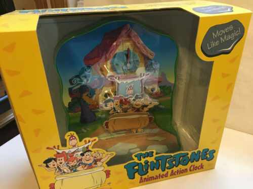 Flintstones Animated Action Clock Hanna Barbera HB Productions 1994 Family Car