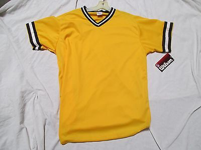 WILSON A4591 MEN'S V-NECK BRAIDED POLYESTER BASEBALL  JERSEY - VAR COL AND SZ