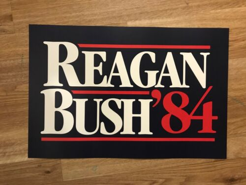 1984 Ronald Reagan George Bush President Election Campaign Poster Sign