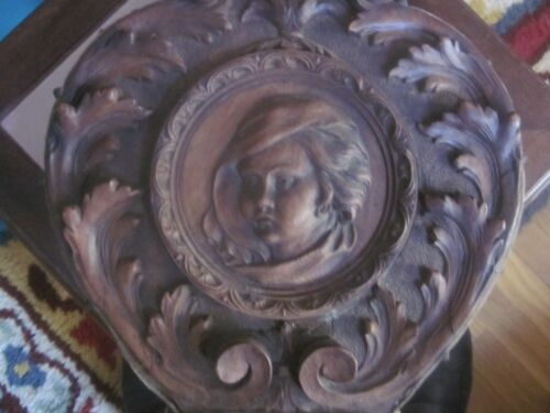 "EXQ Antique Walnut Victorian Carved 20.5"" Fireplace Bellows Young Boy Griffins"