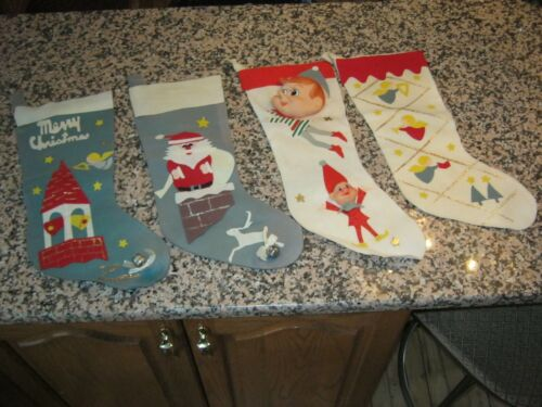 Vintage: Four Christmas Stockings, Found In Old Estate. Must See