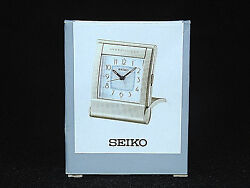 Seiko Desk Clock Silver Tone Travel Free Standing Battery Operated