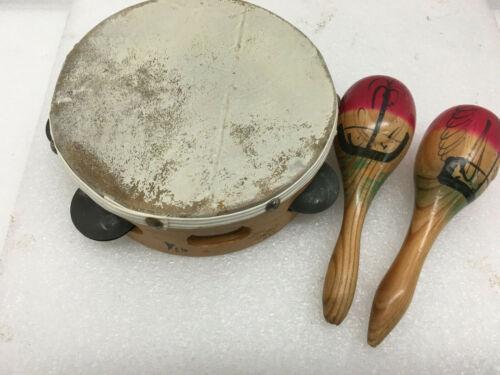 Vintage Wood & Skin Tambourine & 2 Wooden Maracas Percussion Instrument