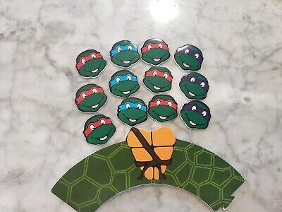 Tmnt Cupcake Toppers (TMNT Teenage Mutant Ninja Turtle Cupcake Toppers Wrappers Kids Party)
