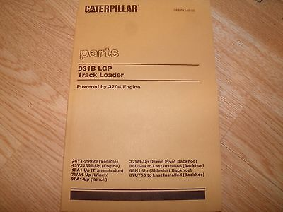 Cat Caterpillar 931b Lgp 26y Track Loader Parts Book Winch And Backhoe