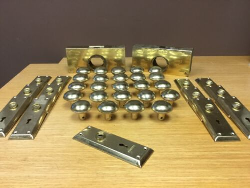 VINTAGE Matching BRASS DOOR KNOBS (24) with (13) Brass Backplates