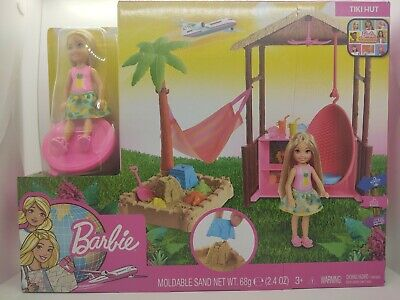 Barbie Dreamhouse Adventures Tiki Hut with Modeling Sandand small doll New