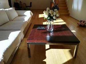 Square wooden coffee table with stainless steel footing Neutral Bay North Sydney Area Preview