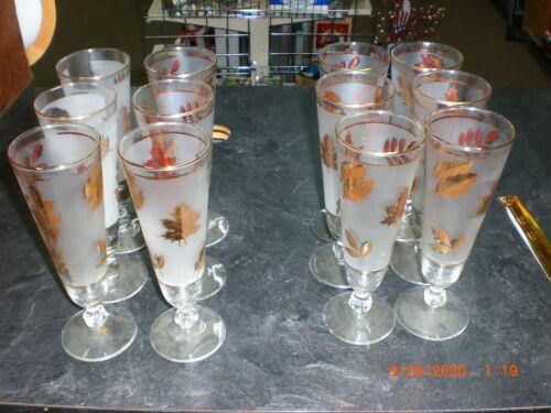 """Lot (10) Vintage Libby Frosted Gold Leaf Footed Beer Pilsner 8 1/2"""" Glasses"""