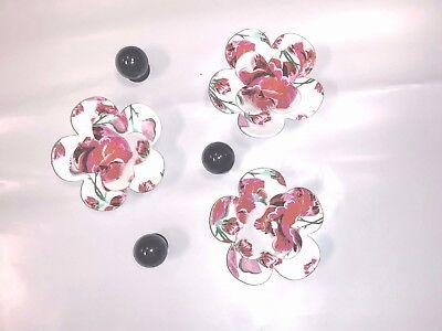 5 Crocs 3D Jibbitz Charms Black Pearls , Pink White Rose Flowers GENUINE CROCS