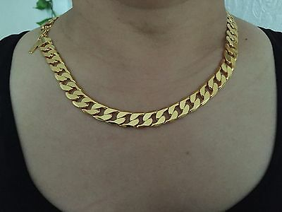"LIFETIME WARRANTY Men's 24"" 18K Yellow Gold Plated Necklace Curb Chain Birthday"