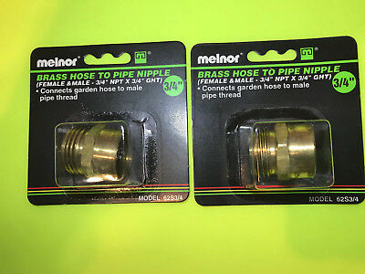 34 F - Npt To 34 M - Ght Garden Hose Thread To Female Pipe Adapter Brass 2pc
