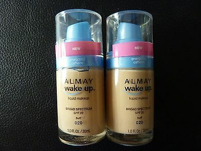 Two Face Make Up (Almay Wake Up Liquid Makeup / Foundation - BUFF  #020 - TWO - Both New / Sealed)
